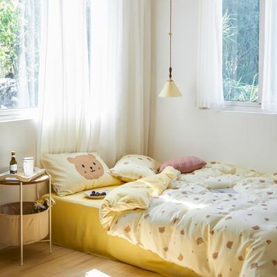 2020新款-卡通天丝四件套 床单款四件套1.8m(6英尺)床 小熊