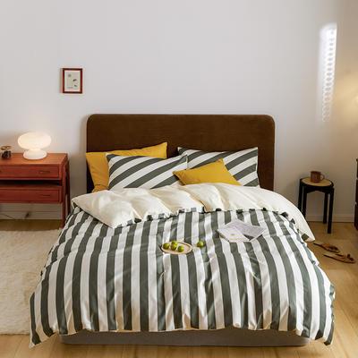 2020新款60支长绒棉数码印花四件套条纹系列 1.8m床单款四件套 果绿宽条