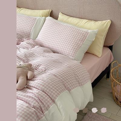 2020新款-A类婴儿级色织双层纱仙仙格四件套 1.8m床单款四件套 粉粉格