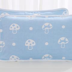 2018新款-6层纱布卡通枕套 33*55cm 蘑菇蓝色