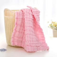 2018新款-素色泡泡纱方巾  (30*30) 粉色