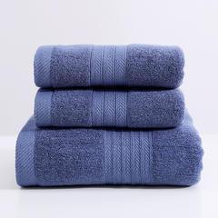 2018新款柔软亲肤棉套巾(两毛一浴) 藏青色