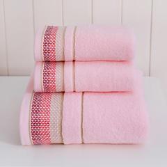 2018新款条纹断档套巾(两毛一浴) 粉色