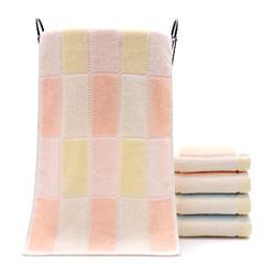 厂家直销亮色纯棉毛巾色线方块劳保福利面巾柔软加厚吸水毛巾批发 粉色