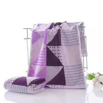 纯棉彩色三角毛巾35*75 紫色