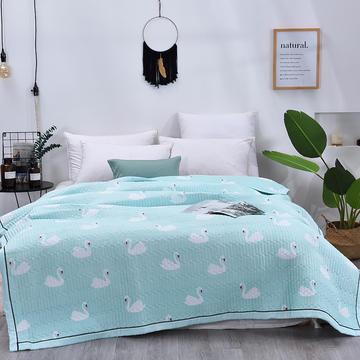 2019新款水洗棉绗绣夏被 150x200cm 天鹅绿