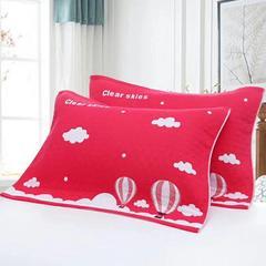 2018新款纯棉32股3层加棉枕巾 54*78cm 红色热气球