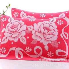 2018新款纯棉无捻纱32股枕巾 54*78cm 红色玫瑰