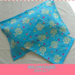 2018新款-三层纱布枕巾(75*52) 黄色月季花湖蓝色