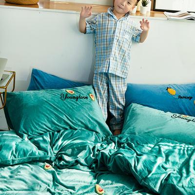 2019新款-毛巾绣宝宝绒四件套 床单款1.8m(6英尺)床 牛油果