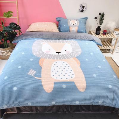 2019新款-大版卡通魔法绒宝宝绒水晶绒四件套 床单款1.8m(6英尺)床 小狮子
