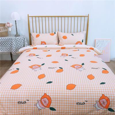 2020新款-双面用40S全棉四件套 床单款1.5m(5英尺)床 柠檬柑橘a正