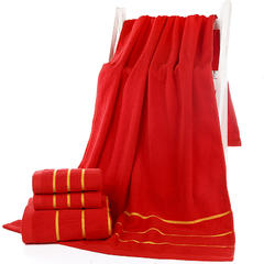 2018新款-今天乐新款全棉金边三段套巾 毛巾(33*74)浴巾(70*140)可定制logo 中国红 浴巾