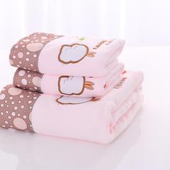 2018新款贴布绣花超细纤维浴巾毛巾套装 套巾-粉色