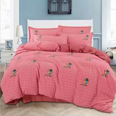 2018新款色织暖绒棉四件套 1.5m(5英尺)床 森林之家-砖红