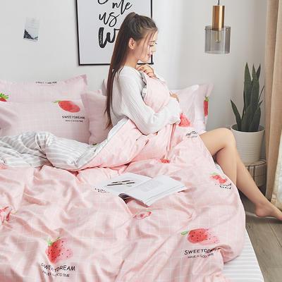 2019新品芦荟棉床单款四件套 1.2床三件套 草莓阁