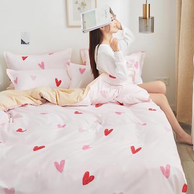 2019新款芦荟棉床单款四件套-模特图 1.2m床单款三件套 爱慕倾心