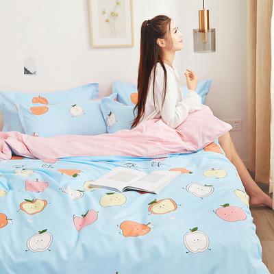 2019新款芦荟棉床单款四件套-模特图 1.2m床单款三件套 苹果乐园