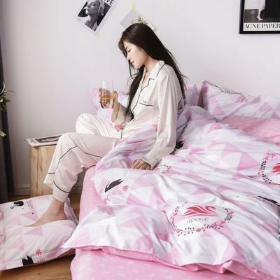 2019新款芦荟棉床单款四件套-模特图 1.2m床单款三件套 天鹅湖