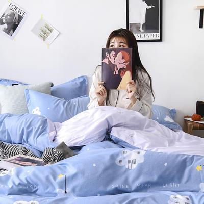 2019新款芦荟棉床单款四件套-模特图 1.2m床单款三件套 星星点灯
