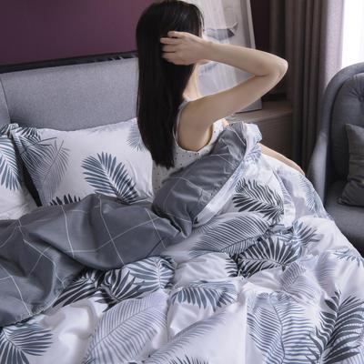 2019新款芦荟棉床单款四件套-模特图 1.2m床单款三件套 叶羽