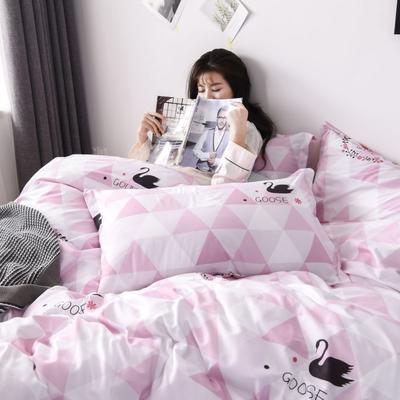 2019新款芦荟棉床单款四件套-床拍图 1.2m床单款三件套 天鹅湖