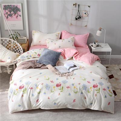 2019新款芦荟棉床单款四件套-床拍图 1.2m床单款三件套 小清新