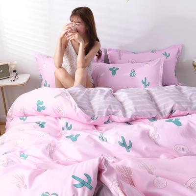 2019新款芦荟棉四件套 1.2m床单款三件套 仙人掌