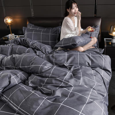 2019新款芦荟棉床单款四件套-模特图 1.2m床单款三件套 北欧风情