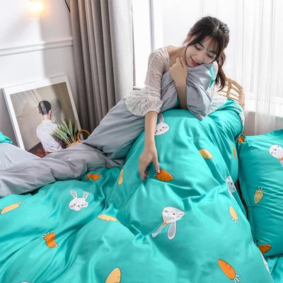 2019新款芦荟棉床单款四件套-模特图 1.2m床单款三件套 可爱兔