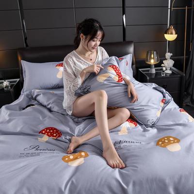2019新款芦荟棉床单款四件套-模特图 1.2m床单款三件套 蘑菇屋