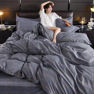 2019新款芦荟棉床单款四件套-模特图 1.2m床单款三件套 英伦时尚