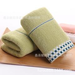 纯棉深色格子礼品毛巾定制广告LOGO 32股全棉透气回礼吸水加厚毛 绿色