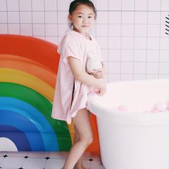 2018新款️ins同款眼罩连帽儿童吸水亲子斗篷浴袍 60*60cm(儿童款) 粉色鲨鱼