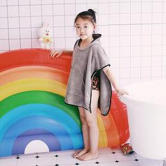 2018新款️ins同款眼罩连帽儿童吸水亲子斗篷浴袍 60*60cm(儿童款) 灰色鲨鱼