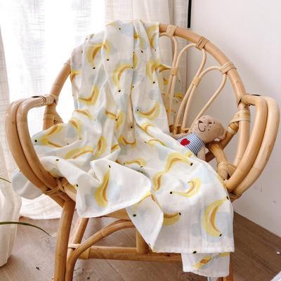 2019新款双层纱襁褓巾 110*110 香蕉