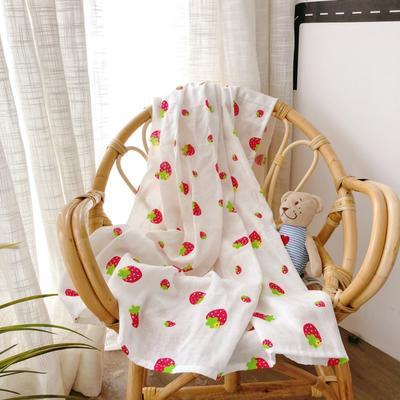 2019新款双层纱襁褓巾 110*110 小草莓