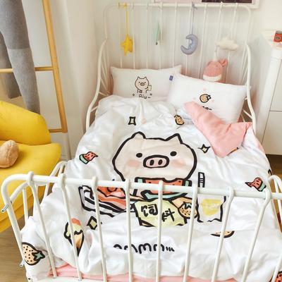 2019新款宝宝60s长绒棉高颜值印花四件套 1.0m床 猪猪的夏天