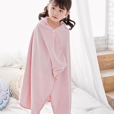 2019新款水洗棉浴袍小披肩 75*120 粉色鲨鱼
