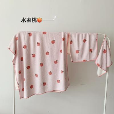 2019新款吸水毛巾浴巾 水蜜桃成人毛巾35*80浴巾90*150
