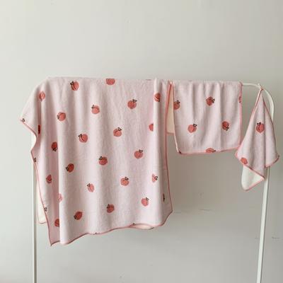 2019新款吸水毛巾浴巾 水蜜桃儿童毛巾30*55浴巾70*125