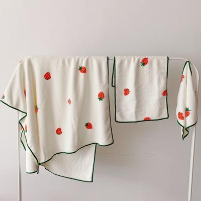 2019新款吸水毛巾浴巾 小草莓儿童毛巾30*55浴巾70*125