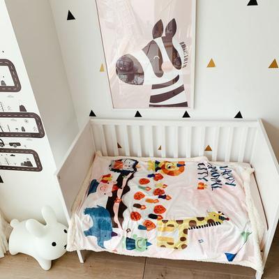 2019羊羔绒多功能盖毯毯子 100*140 蛋糕乐园,粉