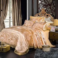 天彤莫代尔提花四件套 标准(1.5m床/1.8m床) 百年好合-金色