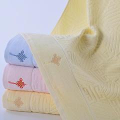 2018新款无捻21支提花绣花中国结浴巾 70*140cm 黄色