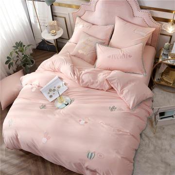2019新款-全棉水洗刺绣简约时尚工艺款四件套 1.5m(5英尺)床 沙漠绿意