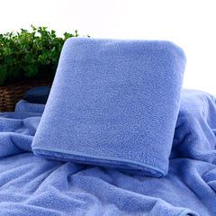 2018新款--高密珊瑚绒包边吸水套巾-毛巾(35*75)浴巾(70*140) 蓝色毛巾
