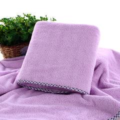 2018新款--高密珊瑚绒包边吸水套巾-毛巾(35*75)浴巾(70*140) 紫色毛巾
