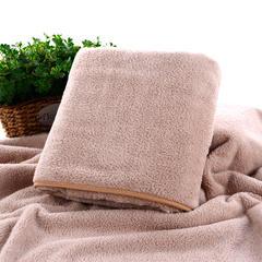 2018新款--高密珊瑚绒包边吸水套巾-毛巾(35*75)浴巾(70*140) 咖色毛巾