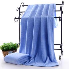 2018新款--高密珊瑚绒包边吸水套巾-毛巾(35*75)浴巾(70*140) 蓝色浴巾